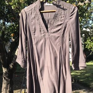 Miilla Brown Silky Tunic 3/4 Sleeve S